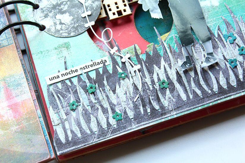 detalles álbum exocéntrico con papel y maderas TodoStencil