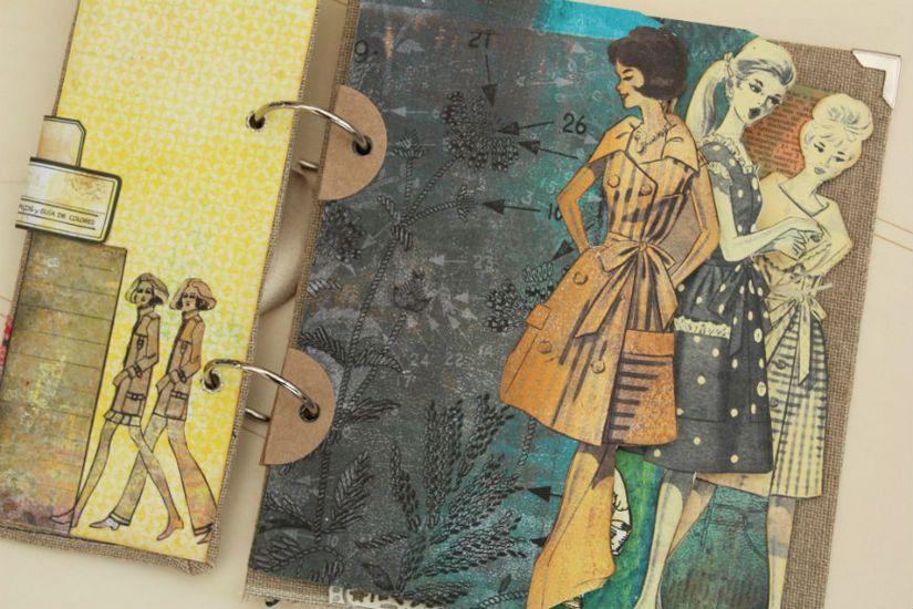detalle páginas álbum scrapbooking colección entretela de TodoStencil