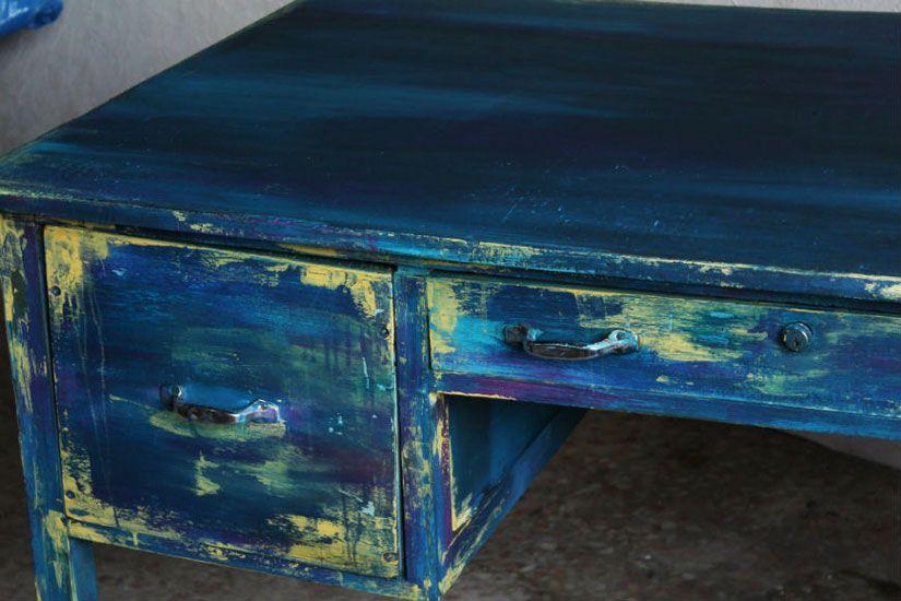 Restauración escritorio estilo boho chic con Mya chalkpaint de Todo Stencil