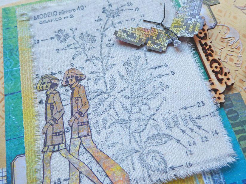 Sobre decorado con sellos Mya, plantillas y papeles Entretela de Aurora Almunia para TodoStencil