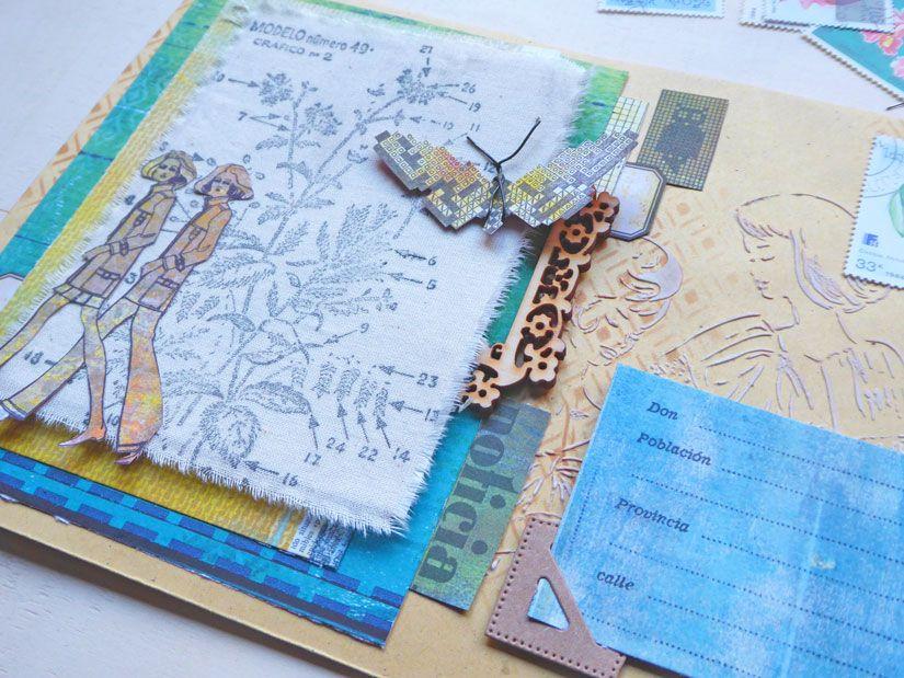 Sobres alterados con sellos caucho, stencil y papeles Entretela de TodoStencil