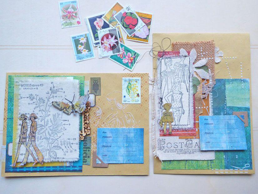 Sobres decorados con sellos caucho Mya, stencil y colección Entretela de TodoStencil