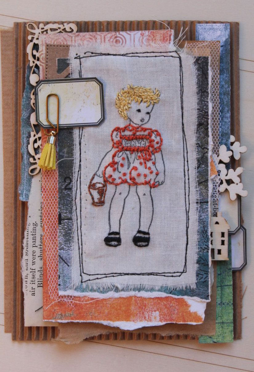Tarjeta con bordado sobre tela de sello caucho Mya Todo Stencil