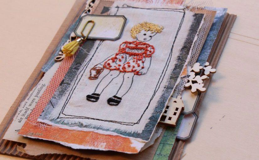 Tarjeta con bordado sobre tela de sello caucho Mya TodoStencil