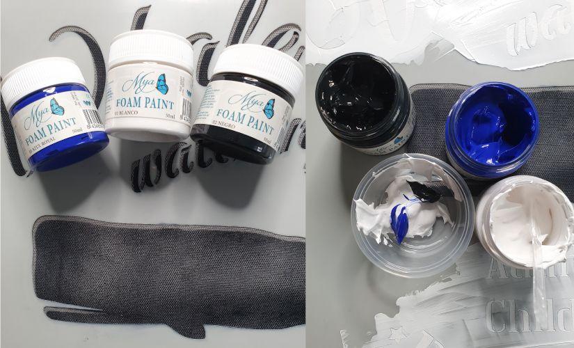 Foam paint Mya sobre textil