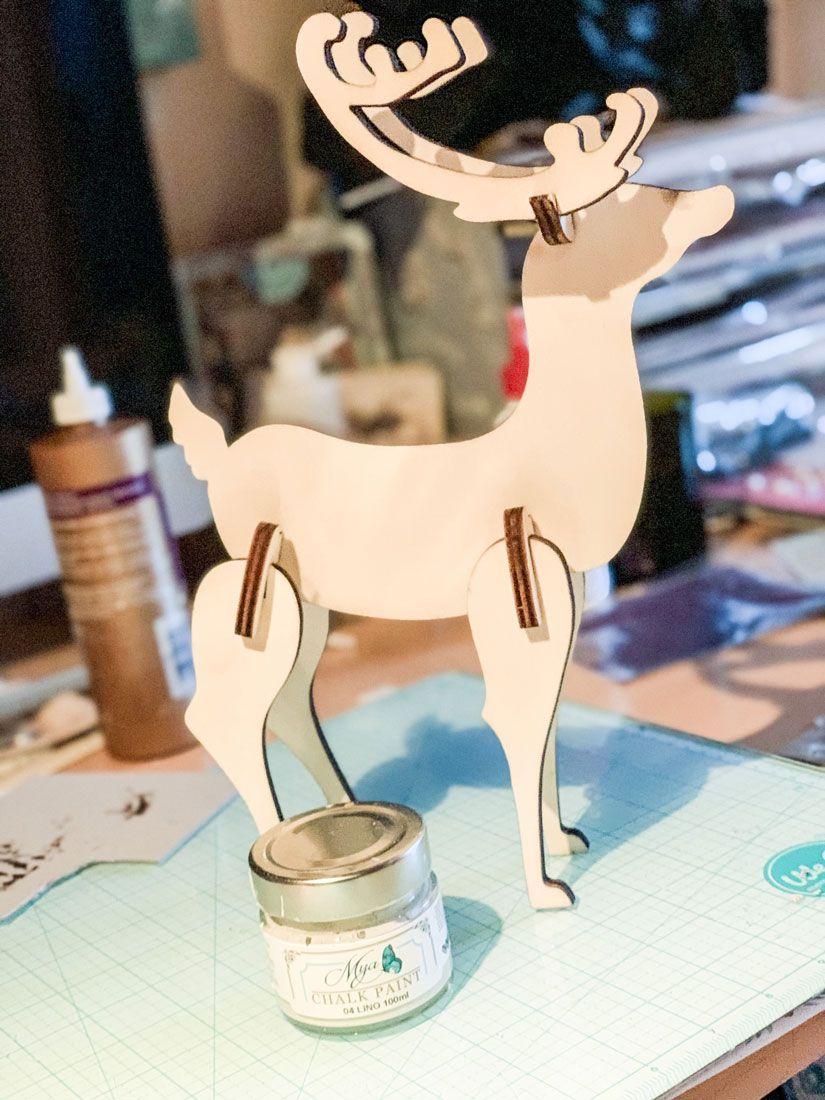 Ciervo 3D en madera con capa mya chalkpaint de TodoStencil