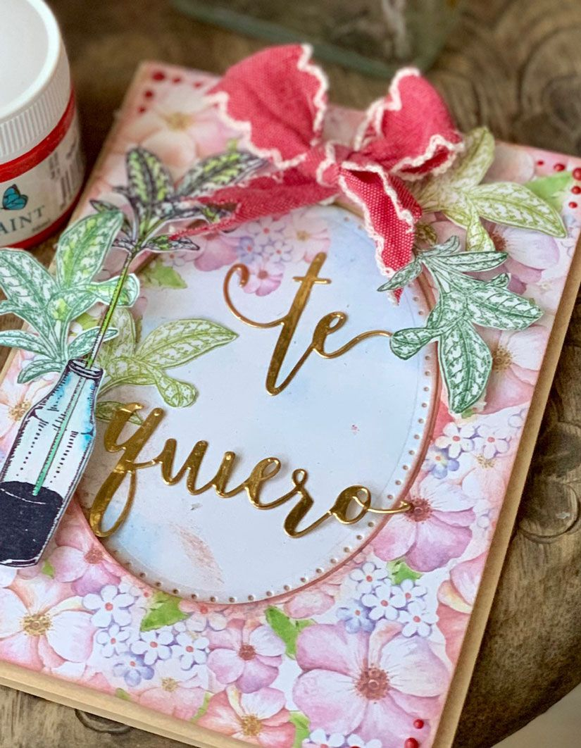 Tarjeta San Valentín con sello botella hojas Mya de TodoStencil