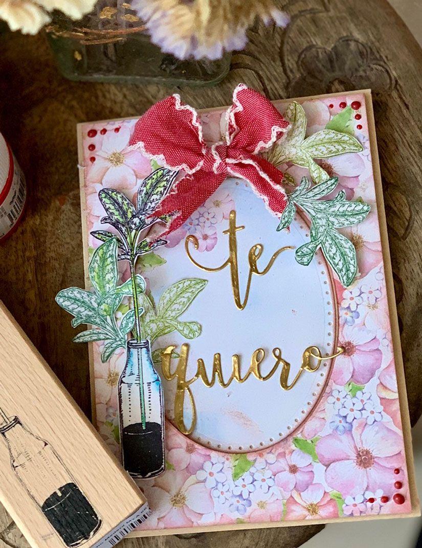 Tarjeta San Valentín con sello de caucho y foam paint Mya de TodoStencil