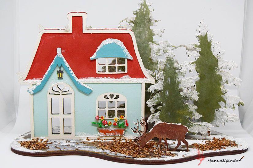 cabaña del bosque navideña con efecto nieve mya foam paint de TodoStencil