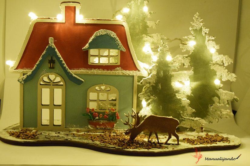 cabaña del bosque navideña decorada con Mya chalkpaint y foam paint de TodoStencil
