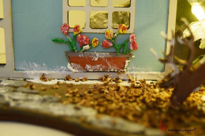 Detalle cabaña del bosque flores con Mya foam paint de TodoStencil