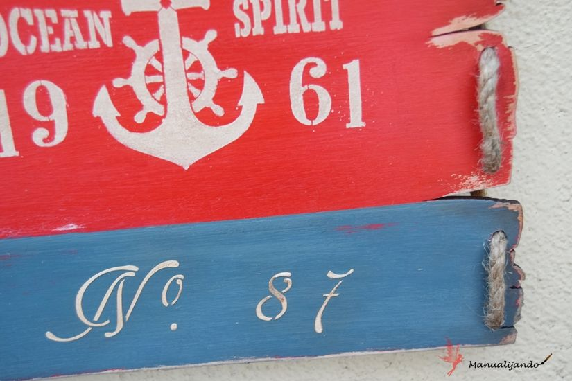 Cartel marinero de madera decorado con plantillas y chalk paint de Todo Stencil