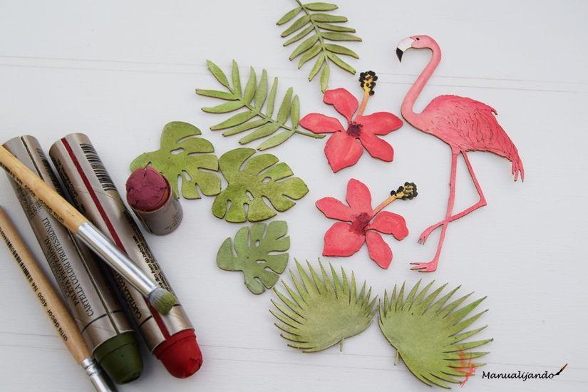 Tag tropical con siluetas cartón y Markal de TodoStencil