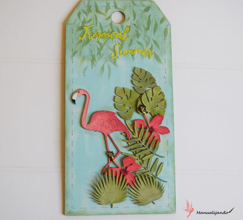 Tag tropical con stencil, siluetas cartón y Markal de TodoStencil