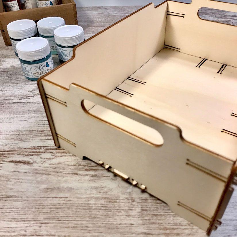 caja madera apilable de TodoStencil decorada