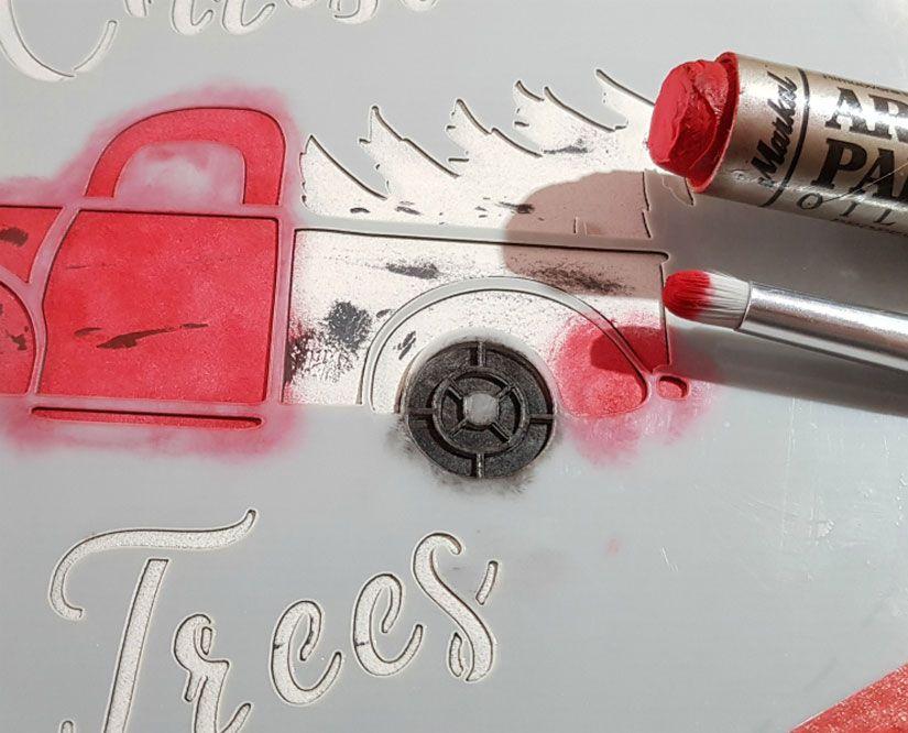 Cartel reversible de madera con stencil y Mya chalkpaint y Markal de TodoStencil