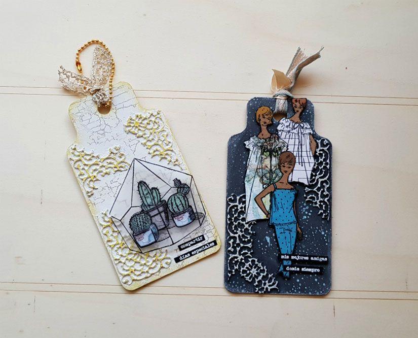 Tags decorados con Mya Flex paste y sellos de caucho de TodoStencil