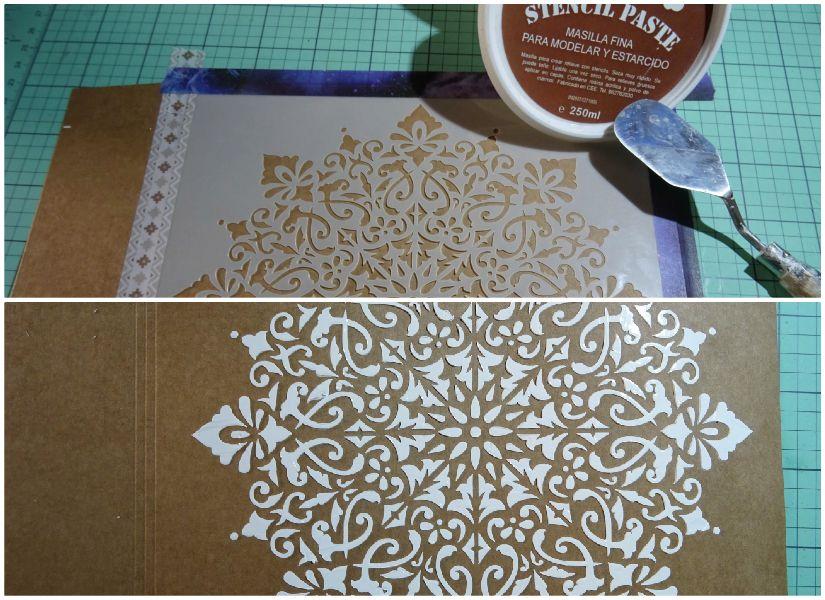 Carpeta para plantillas decorada con stencil y entretela de TodoStencil