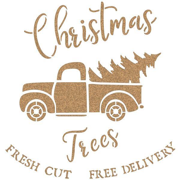 stencil furgoneta arbol navidad